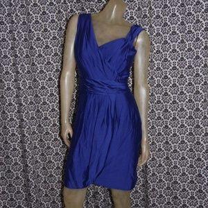 Andrew Marc Blue Silk Blend Empire Waist Dress